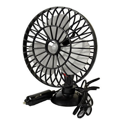 """12V 5"""" Ocscillating Car Fan With Suction Cup Mounting And 2M Cable Van Truck Fan"""