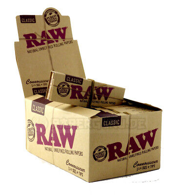 1 Box (24x) RAW Connoisseur 1 1/4 Medium Size Papers + Tips inklusive Blättchen