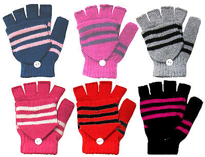 Kids Pair Striped Rib Knitted Wool Blend Half Finger Gloves & Flap Cover Mitten