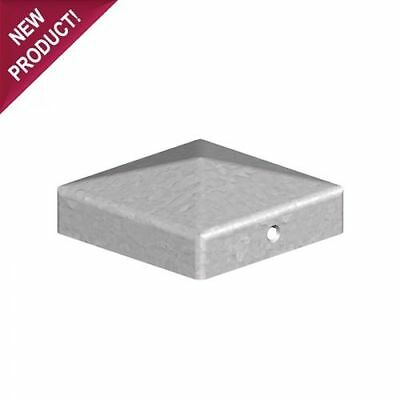 "10 x 75mm PYRAMID SQUARE GALVANISED METAL FENCE POST CAPS - For 3"" 75mm POSTS"