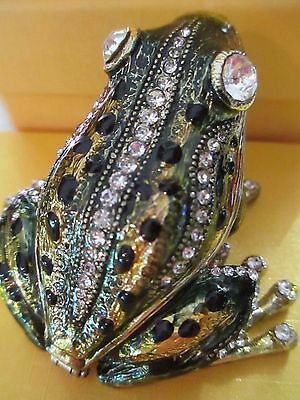 My Prince ~ Green Frog   ~ Enamel & Jeweled Trinket Box #3292