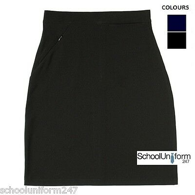 Girls Ladies Lycra Pencil School Uniform Skirt Ages 9-16 yrs W28-34in Black Navy