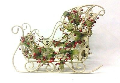 Metal Christmas Sleigh White Holly Covered