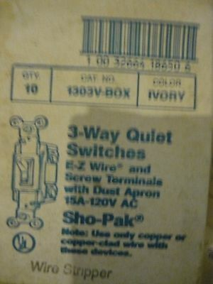 Box Of (10) EAGLE 15A-120V  1303V-BOX Quiet Switch 3-Way Color  Ivory