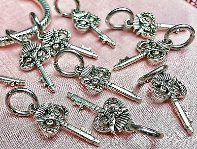 10 Silver Carved Wise Owl Skeleton Key Pendants European Ring Bail Dangle Charms