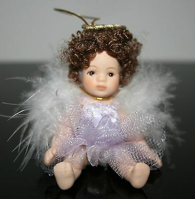 Petite Porcelain Blonde Haired Doll Angel Doll Ornament Full Body  Box 26i