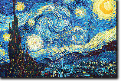 STARRY STARRY NIGHT - Vincent Van Gogh - Photo Print Poster Reproduction