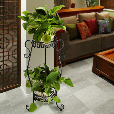 2 Tier Plant Stand Flower Holder Metal Home Garden  Floor-Standing White Sturdy