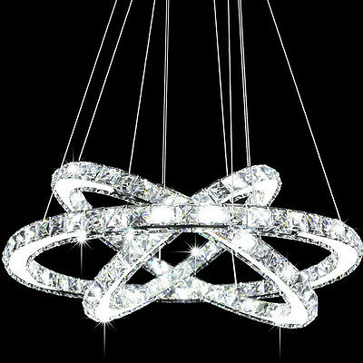 Modern Galaxy LED K9 Crystal Ring Chandelier Pendant Light Ceiling Lighting