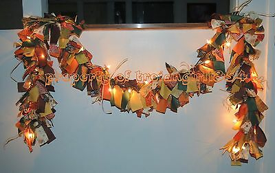 HOLIDAY FABRIC LIGHT GARLAND - THANKSGIVING / FALL / HARVEST / AUTUMN - 9FT Long