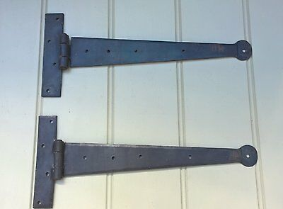 Old Black Vintage Antique Penny Tee Hinge Wrought Iron - 12 Inch Pair