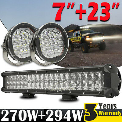 "20inch 294W LED Work Light Bar 2x 7"" 270W Driving Lamp Offroad UTE SUV ATV 4x4WD"