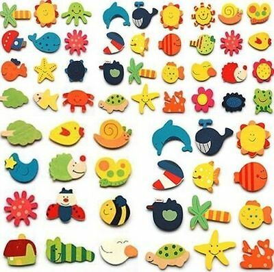 GD 24pc Mixed Style Cute Animal Tree Sun Wooden Fridge Magnet Sticker For Kids