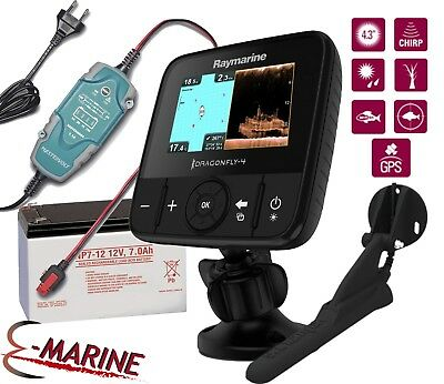 Raymarine Dragonfly 4 PRO Eco/GPS Chirp DownVision+ Battery + Charger (no chart)