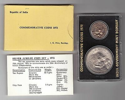 India - Silver 2 Dif Unc Coins Mint Set: 0,5 - 10 Rupees 1972 Year Independence