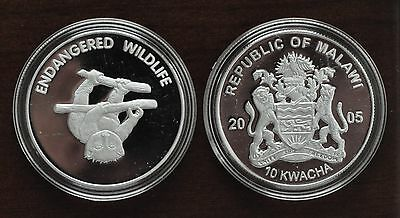 Malawi - Rare Silver Plated Proof 10 Kwacha Coin 2005 Year Km#82 Lemur On Branch