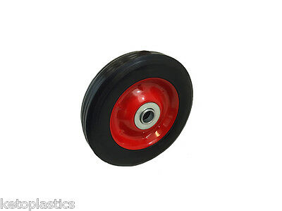 "6"" Solid Trolley / Sack Truck Wheel With 12Mm Roller Bearings Metal Centre"