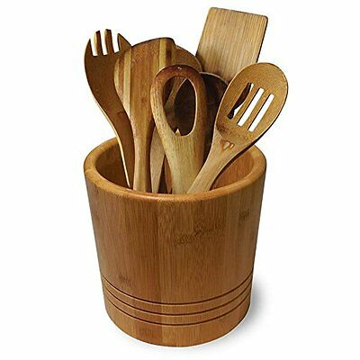 New Bamboo Kitchen Utensil Holder Rack Storage Cutlery Pot Jar Utensils Wooden