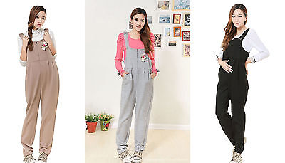 Women Pregnant Maternity Casual Cotton Pants Suspender Overalls Bib Trouser