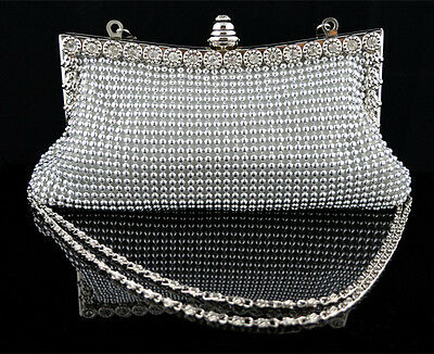 Ladies Crystal Diamante Evening Clutch Bag Party Prom Wedding Bag Purse 2 Chains