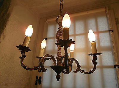 French vintage ornate bronze chandelier 5 light superb detailed gold patina