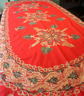 Large Red Christmas Tablecloth Oval Machine Needlework Gold Green Trees Bells