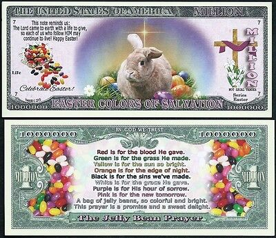 EASTER BUNNY JELLY BEAN PRAYER MILLION DOLLAR NOVELTY BILL - Lot of 10 BILLS