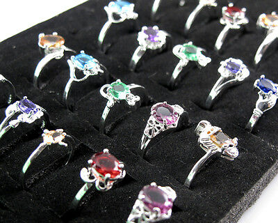 Wholesale Lots 10PCS Mixed Style Women Jewelry 925 Silver Crystal Rings 6-9 #