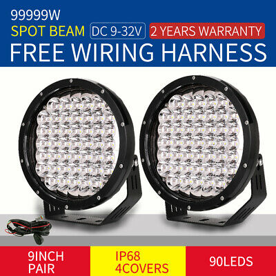 9inch 99999W LED CREE Driving Lights Round Spot Black Work Offroad SUV 4x4Truck