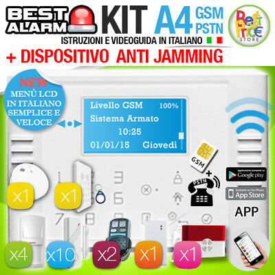 ANTIFURTO KIT A4 ALLARME CASA WIRELESS 433 Mhz GSM PSTN TOUCH  - ANTIJAMMING