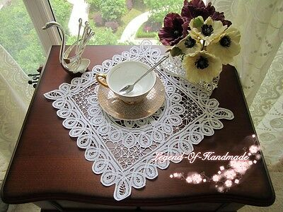 """TWO Handmade Full Battenburg Lace Placemat/Doily~12"""" Square~Victorian~Wedding~"""