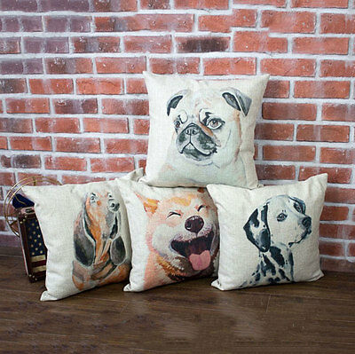 Cushion Cover Throw Pillow Case Linen Home Decor-Lovely Dogs Tale Smile Hachi