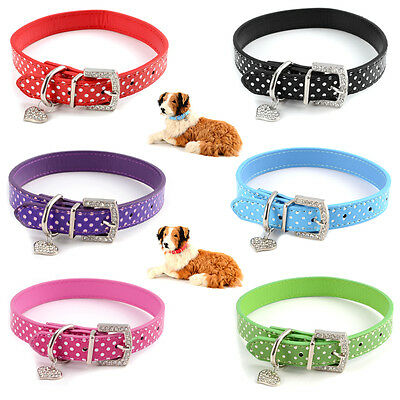 Adjustable PU Leather Dog Collars Pet Puppy for Lead Safety Bling Spotty S M L