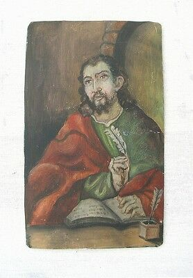 Old ANDES INDIAN Painted Tin Retablo St Matthew Colonial Holguin Style TM12605