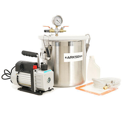 5 Gallon Vacuum Chamber with 3 CFM Single Stage Pump Degassing Silicone Combo