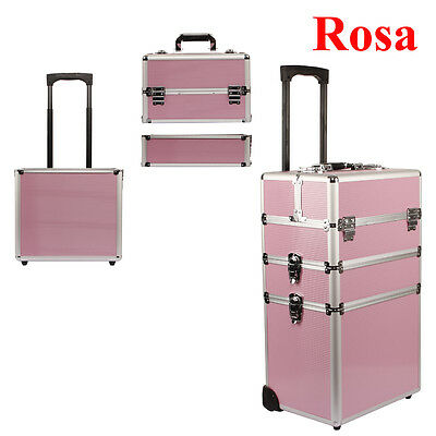 Beauty Case Trolley Make Up Trucco Bellezza Parrucchieri Valigetta Valigia Rosa