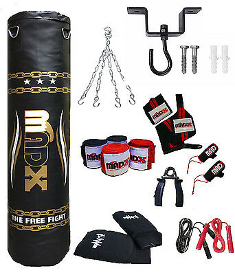 MADX 15 Piece 5ft Heavy Filled Boxing Punch Bag Set,Gloves,Hook,Chains MMA