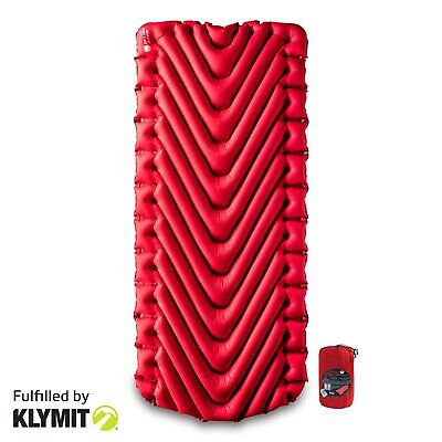 KLYMIT Insulated Static V LUXE Sleeping Pad RED Lightweight Camping BRAND NEW