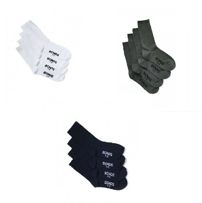 Bonds Boys Girls 4 Pairs Crew School 4 Pack Cotton Socks Kids Navy White Grey