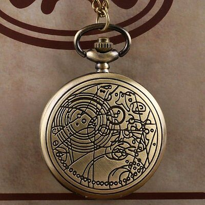 Retro Vintage Compass Pattern Doctor Who Necklace Quartz Pocket Watch Xmas Gift