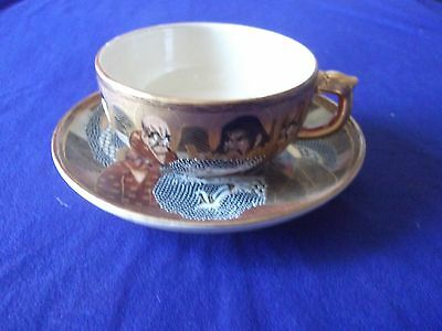 antique Japanese satsuma Meiji tea cup and saucer