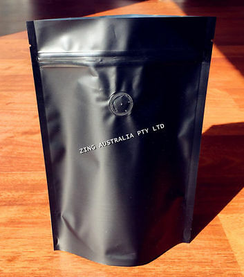 100X Stand Up Pouch Matte Black / Kraft Paper, Zip Lock With Valve  Coffee Bags