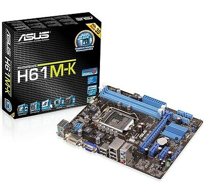 New ASUS H61M-K Motherboard LGA 1155 Socket Intel H61 Chipset 2 x DDR3 Micro ATX