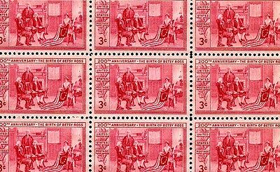 BETSY ROSS (1952) - #1004 - Full Mint -MNH- Sheet of 50 Vintage Postage Stamps