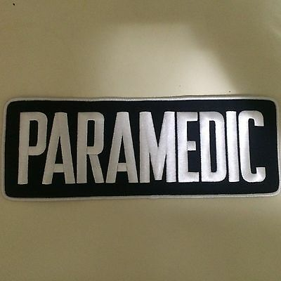 "PARAMEDIC Back Patch White Letters on Navy Background 4""X11"""