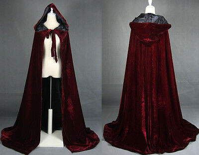 Wine red black velvet hooded cloak wedding cape Halloween wicca robe coat S-6XL