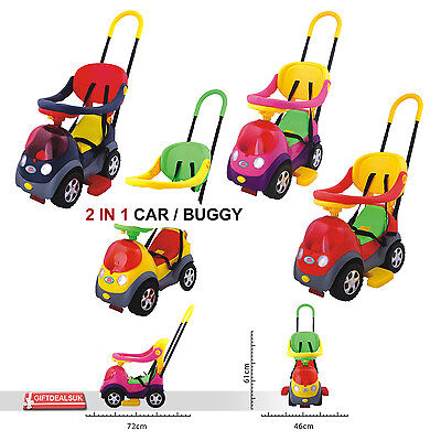 2 In 1 Kids Toddler Four Wheel Drive Baby Car Buggy With Handle Musical Fun Toys