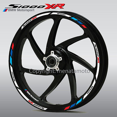 s1000XR motorcycle wheel decals 12 rim stickers stripes BMW s1000 XR Motorsport