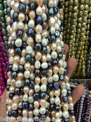 8-9mm Water Black White pink purple Freshwater Cultured Pearl Loose Beads 13""