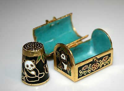 Cloisonne Panda Treasure Chest & Matching PANDA THIMBLES in Various Colors